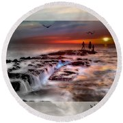 Evening Stroll At The Beach -featured In 'cards For All Occasions'comfortable Art'  'digital Veil Round Beach Towel