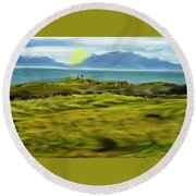 Evening Stroll By The Seashore Round Beach Towel