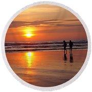 Evening Stroll Round Beach Towel