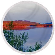 Evening Sun Glow On Calm Twin Lakes Yukon Canada Round Beach Towel