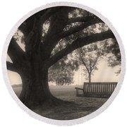Evening Swing - Oak Tree - Altus Arkansas Round Beach Towel