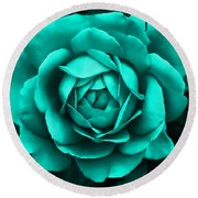 Evening Teal Rose Flower Round Beach Towel