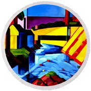 Evening Tones Round Beach Towel