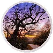 Evening Tree Round Beach Towel by Debra and Dave Vanderlaan