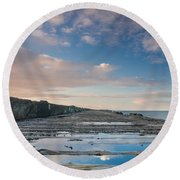 Evening View Down The South Jetty Round Beach Towel