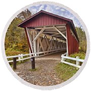 Everett Covered Bridge Round Beach Towel
