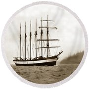 Everett G. Griggs Sailing Ship Washington State 1905 Round Beach Towel