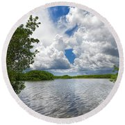 Everglades Lake - 0278 Round Beach Towel