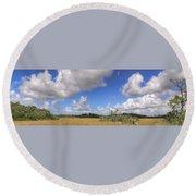 Everglades Landscape Panorama Round Beach Towel