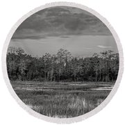 Everglades Panorama Bw Round Beach Towel