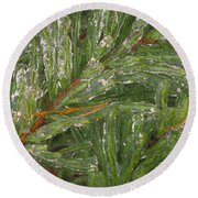 Evergreen Covered In Ice Round Beach Towel