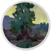 Evergreen Reflections Round Beach Towel