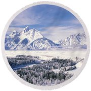 Evergreen Trees On A Snow Covered Round Beach Towel