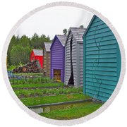 Every Garden Needs A Shed And Lawn Two In Les Jardins De Metis/reford Gardens Near Grand Metis-qc Round Beach Towel