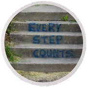 Every Step Counts Round Beach Towel