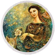 Eve's Orchard Round Beach Towel