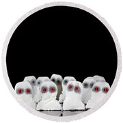 Evil White Ghosts In A Crowd With Black Space Round Beach Towel