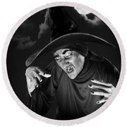 Evil Witch Under A Full Moon Round Beach Towel