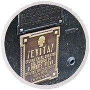 Evita Burial Vault Round Beach Towel