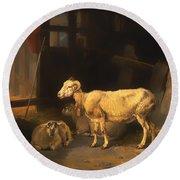 Ewe And Lambs Round Beach Towel