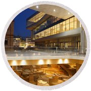 Excavations At Acropolis Museum Round Beach Towel
