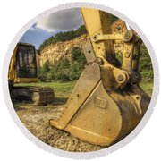 Excavator At Big Rock Quarry - Emerald Park - Arkansas Round Beach Towel