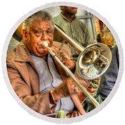 Excelsior Band Horn Player Round Beach Towel