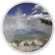 Excelsior Geyser Crater In Yellowstone National Park Round Beach Towel