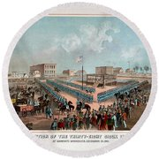 Execution Of The Thirty Eight Sioux Indians Round Beach Towel