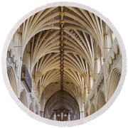 Exeter Cathedral And Organ Round Beach Towel