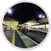 Exeter St Davids By Night  Round Beach Towel by Rob Hawkins