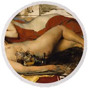 Exhausted Maenides Round Beach Towel by Sir Lawrence Alma Tadema