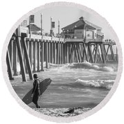 Existential Surfing At Huntington Beach Round Beach Towel