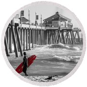 Existential Surfing At Huntington Beach Selective Color Round Beach Towel