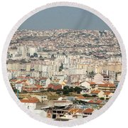 Exiting Lisbon By Plane Round Beach Towel