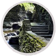 Exiting Watkins Glen Gorge Round Beach Towel by Frozen in Time Fine Art Photography