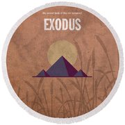 Exodus Books Of The Bible Series Old Testament Minimal Poster Art Number 2 Round Beach Towel by Design Turnpike