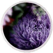 Exotic Purple Flower Round Beach Towel