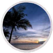 Exotic Sunrise 02 Round Beach Towel