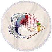 Exotic Tropical Fish Drawing Round Beach Towel