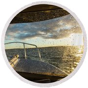 Expedition Boat In Repulse Bay Round Beach Towel