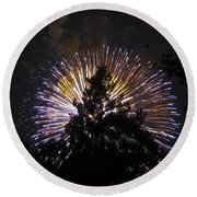 Exploding Tree Round Beach Towel