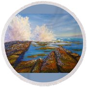 Exploding Waves North Beach Wollongong Australia Round Beach Towel