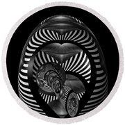 Exploration Into The Unknown Bw Round Beach Towel