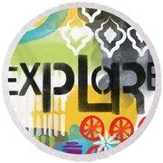 Explore- Contemporary Abstract Art Round Beach Towel