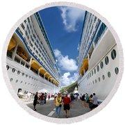 Explorer Of The Seas And Adventure Of The Seas Round Beach Towel