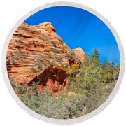 Exploring The Upper Plateau Of Zion Round Beach Towel