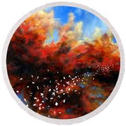 Explosion In The Sky Round Beach Towel
