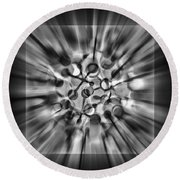 Explosive Abstract Black And White By Kaye Menner Round Beach Towel