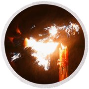 Explosive Candlelight Round Beach Towel
